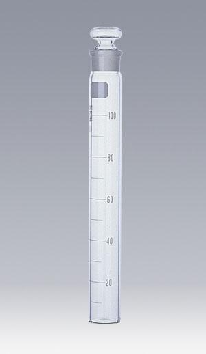 共通すり合わせ共栓比色管 白色目盛 ガラス平栓付