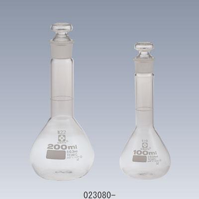 メスフラスコ 短形(全量フラスコ)白 共通すり合わせガラス平栓付