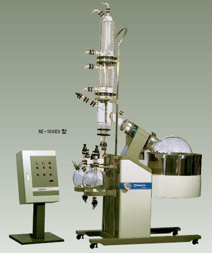 大型ロータリーエバポレーター RE-100EU型、上昇冷却方式、電気ヒーター加熱タイプ