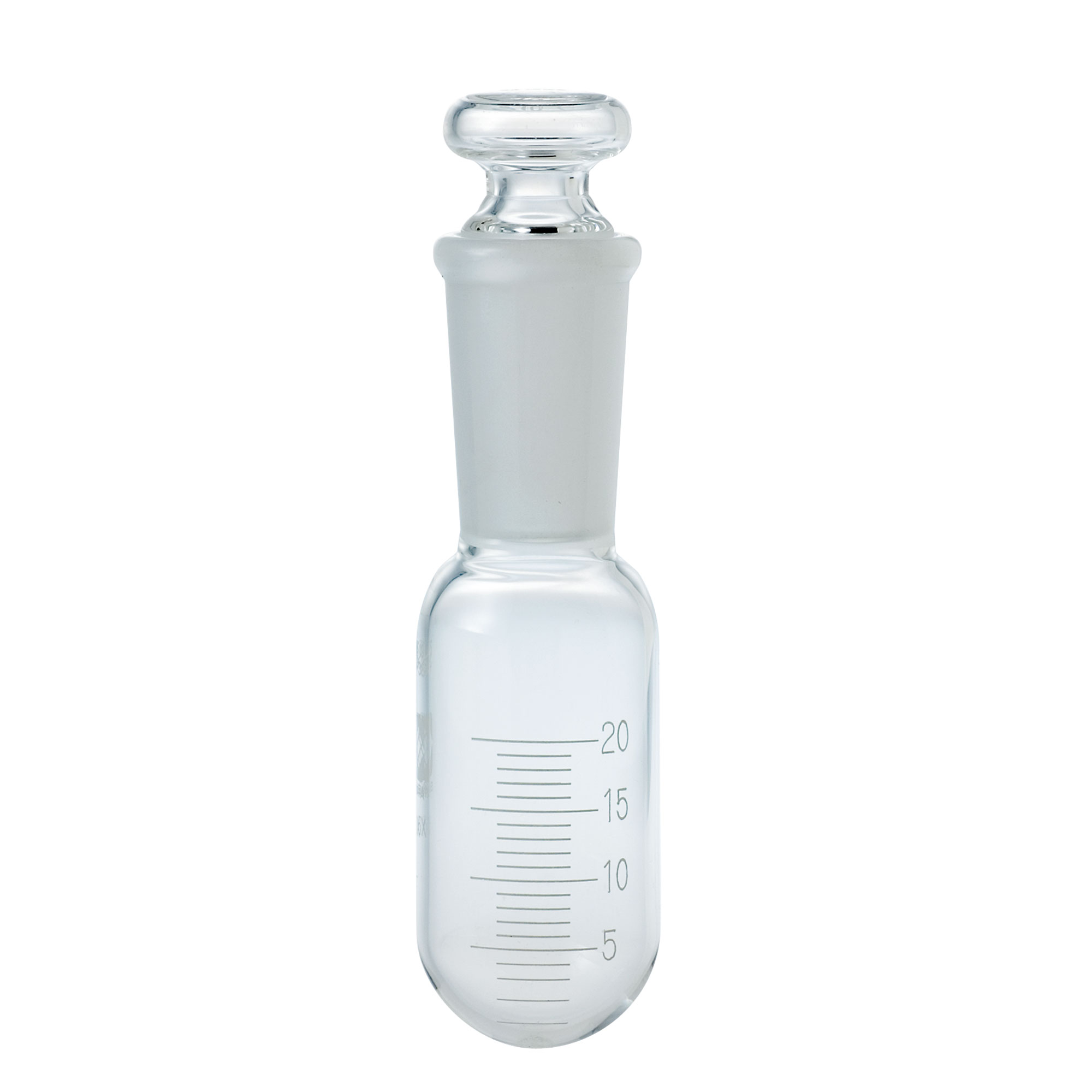 共通すり合わせ受器 円筒形 目盛付 平栓付(精密分留用部品)