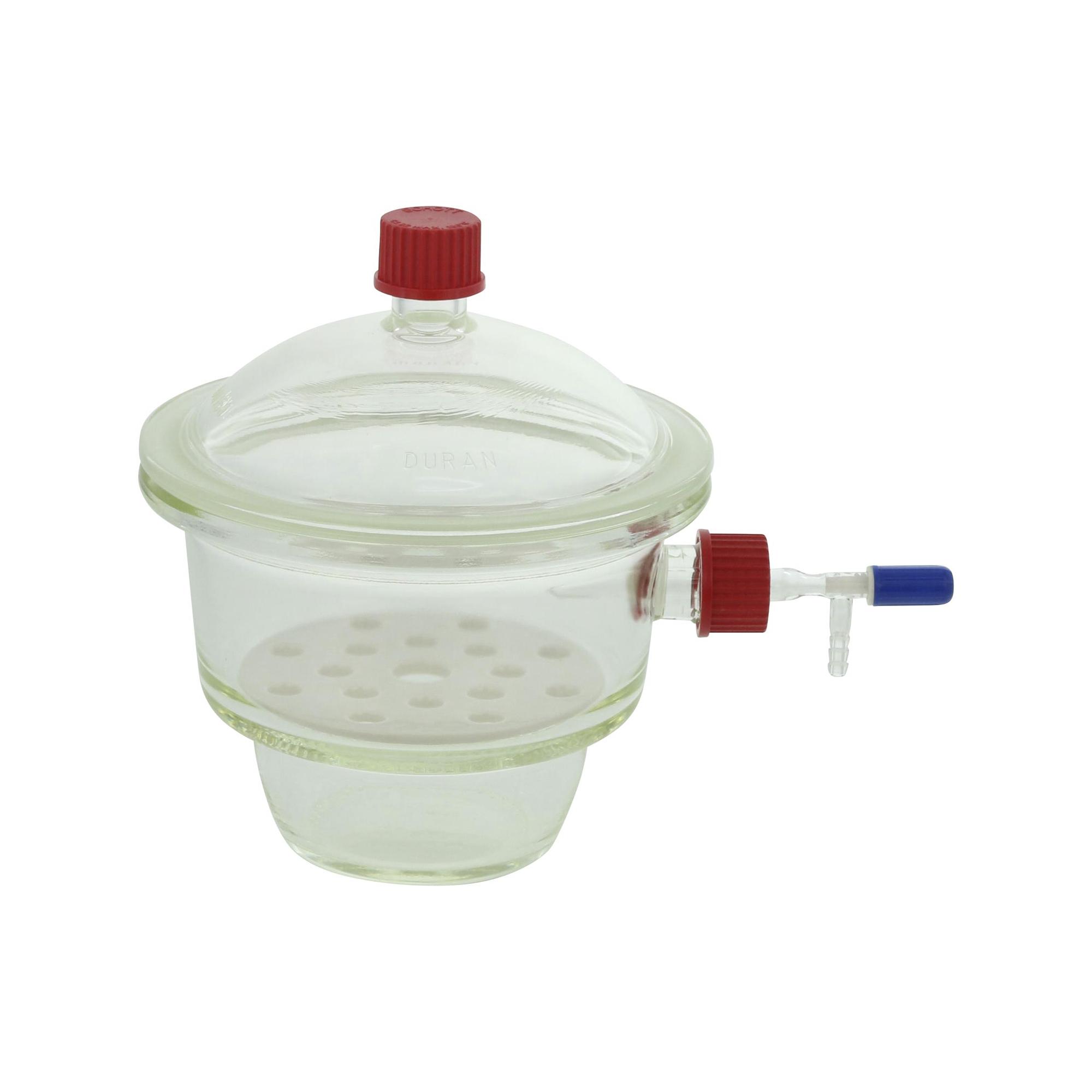 ねじ口デシケーター横口 コック付、中板、プラスチックキャップ付 GL-32 DURAN®
